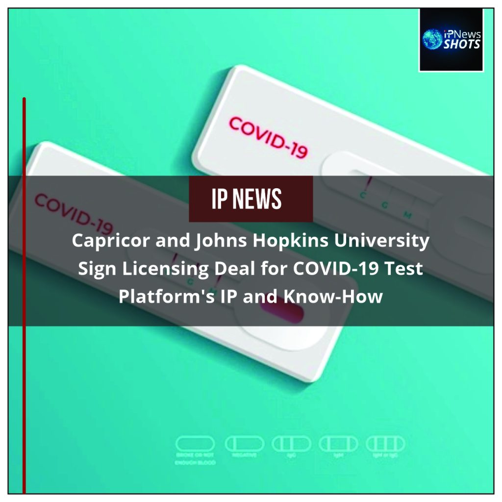 Capricor and Johns Hopkins University Sign Licensing Deal for COVID-19 Test Platform's IP and Know-How
